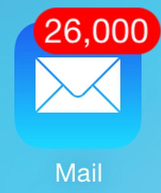 Une icône de réception avec 26000 mails non lus